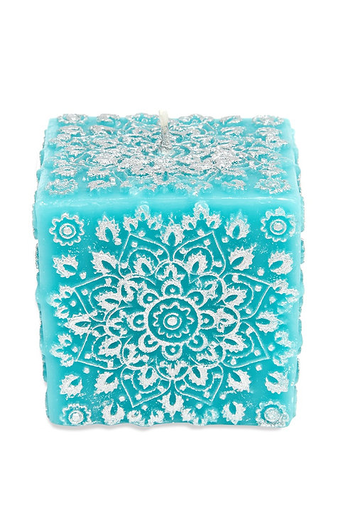 Blue Paisley Cube Candle