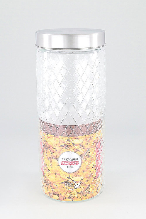 Embossed Glass 2 Liters Canister, Transparent by Diamond Home