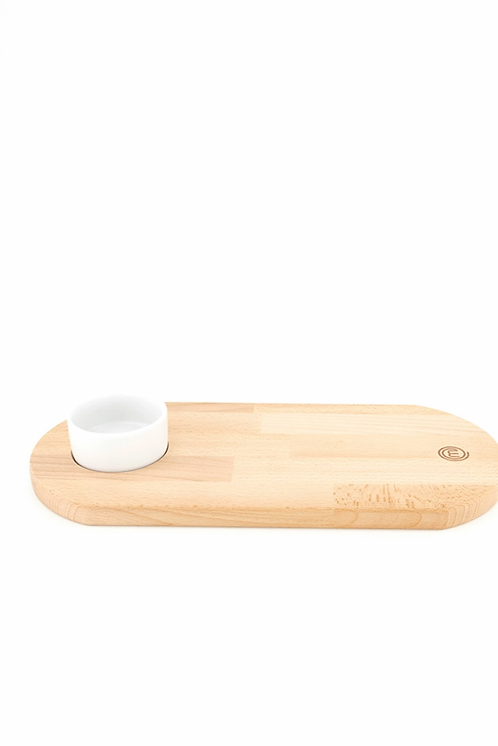 Serving Board With Bowl, Beige/Off-White by Masterchef