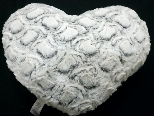 Grey Two-Tone Faux Fur Heart Shaped Throw Pillow With Insert