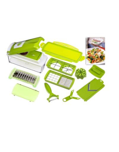 11-Piece Fruit And Vegetable Chopper And Slicer Set White/Green by Nicer Dicer