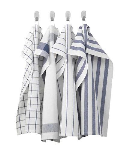 ELLY 4-Pack Tea Towel, White, Blue, 50×65 cm – IKEA