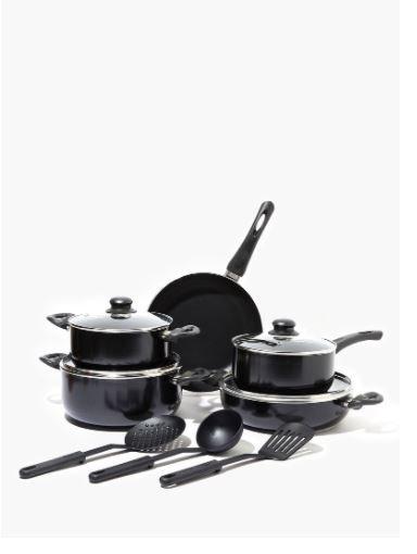 Non-Stick Aluminium Cookware Set Black 12-Piece by Amal