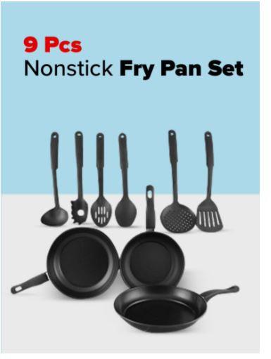 9-Piece Nonstick Fry Pan Set, Black by Royal Mark