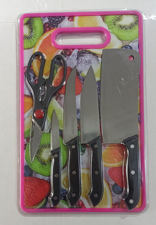 6-piece Knife and Chopping Board Set, Pink