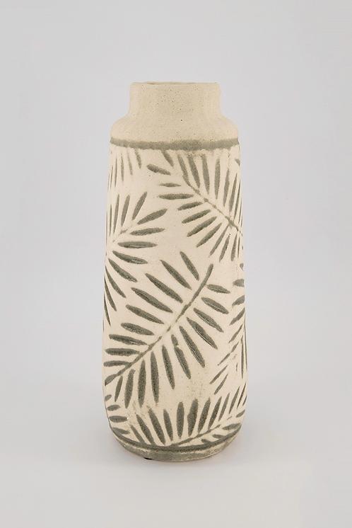 La Dolce Vita Large Ceramic Leaf Vase, Green by Home Essentials