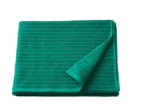 VÅGSJÖN Bath Towel, Dark Green 70x140 cm by IKEA