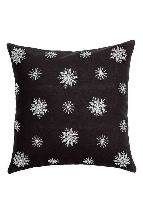 """Beaded Throw Pillow Cover 16"""" x 16""""- Black"""