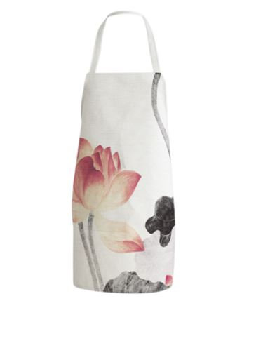 Printed Linen Cotton Apron White/Pink/Grey 75 x 24 x 65 cm by Amal