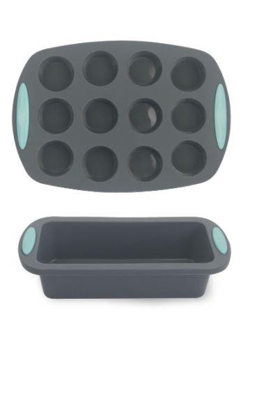 Silicone Baking Pan 2-Piece Set (Mini Cupcake + Loaf) by Amal