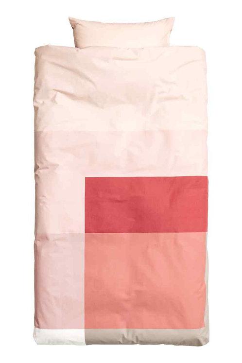 Block-print duvet cover set (Single) - Coral/Pink
