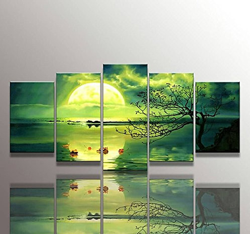 Green and sun Waterfall 5 Panel Canvas Print Paintings, Youkuart