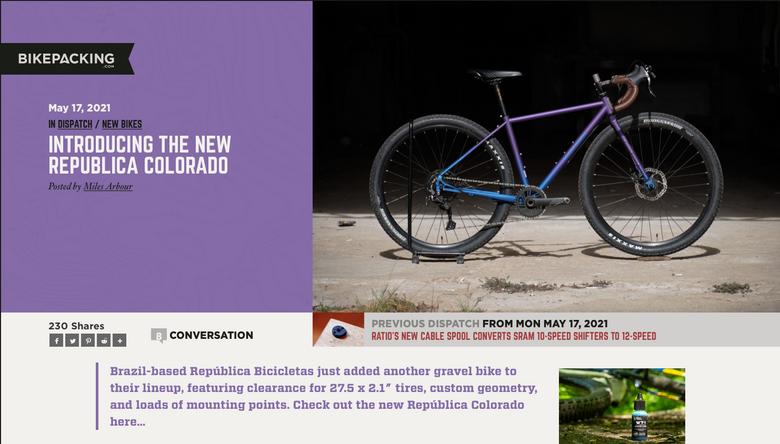 Matéria sobre o novo modelo Colorado no bikepacking.com