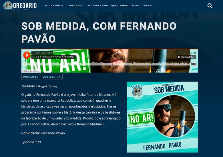 """Participação no podcast Gregário Cycling, tema """"bicicletas sob medida"""""""