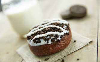 food styling a chocolate donut