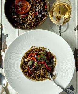 food styling whole wheat pasta