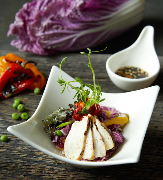 food styling asian chicken salad