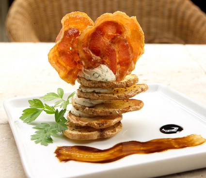 food styling a potato napoleon
