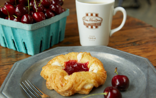 food styling a cheese danish and coffee