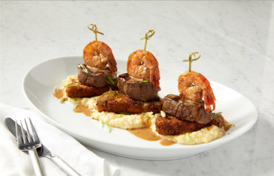 Food Stylist: Columbus, Ohio: risotto with shrimp and beef medallions