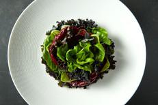 food styling mixed green salad