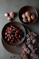 Food styling mixed fruits and champaign grapes
