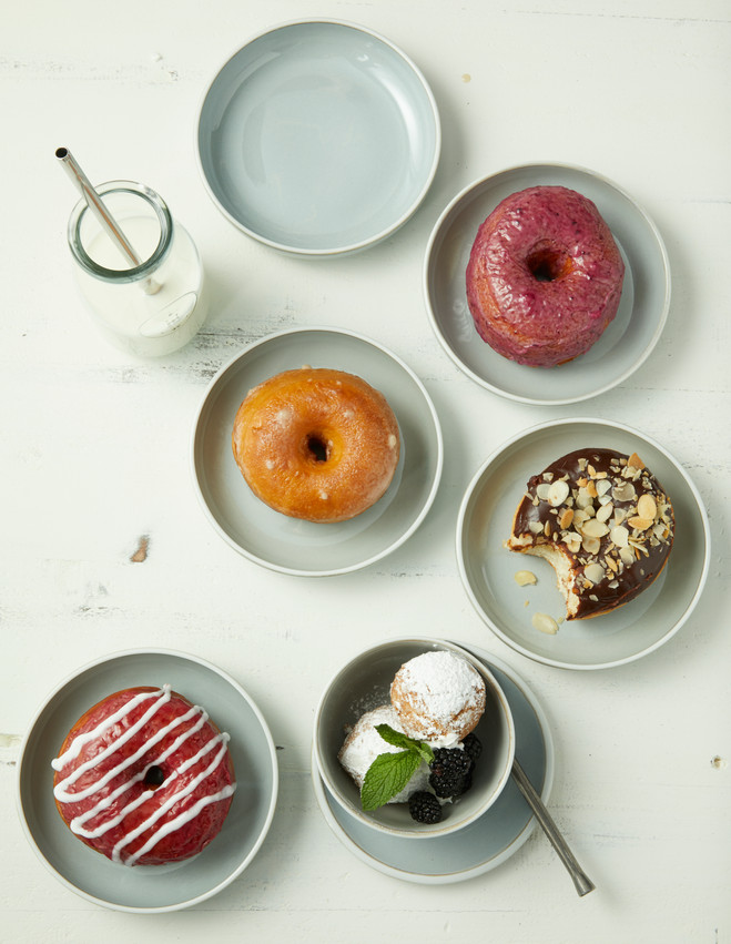 food styling mixed donuts
