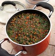 Food styling lentil soup