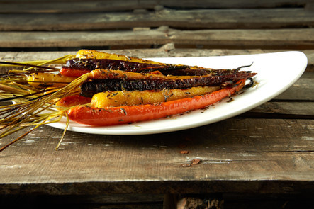 food styling roasted carrots