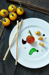 food styling a tomato and cheese plate