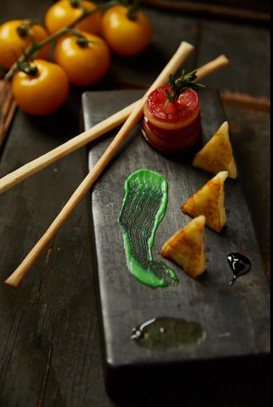 food styling a mock caprese salad