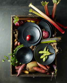 Food styling a vegetable box
