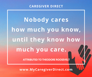 Graphic of quote about care.