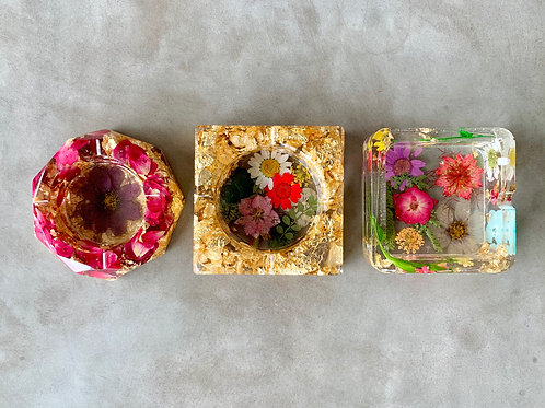 Set of 3 Dried Flower Resin Dish