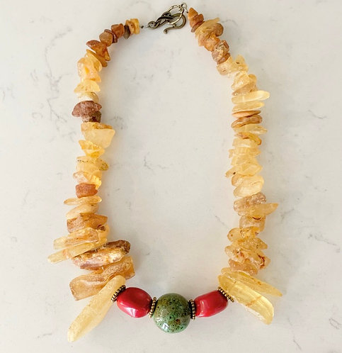 Raw Amber Statement Necklace