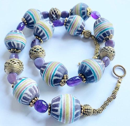 Round Krobo Beaded Necklace