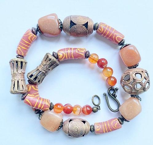 Krobo Rose Quartz Necklace