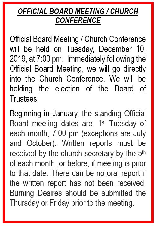 OFFICIAL BOARD-CHURCH CONF - 12-10-2019.