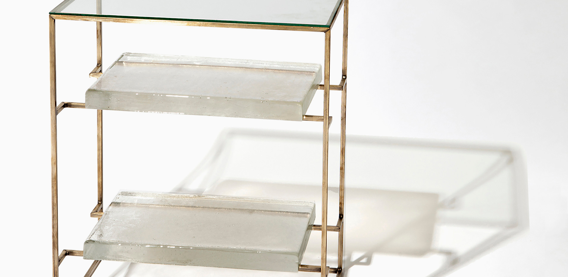 FLOATING GLASS SIDE TABLE - DOUBLE