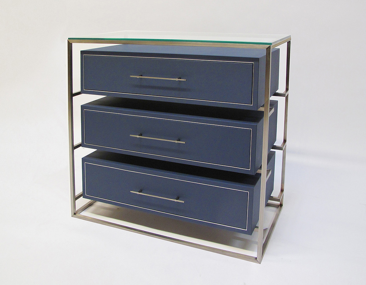 LEATHER WRAPPED FLOATING DRAWERS - CUSTOM