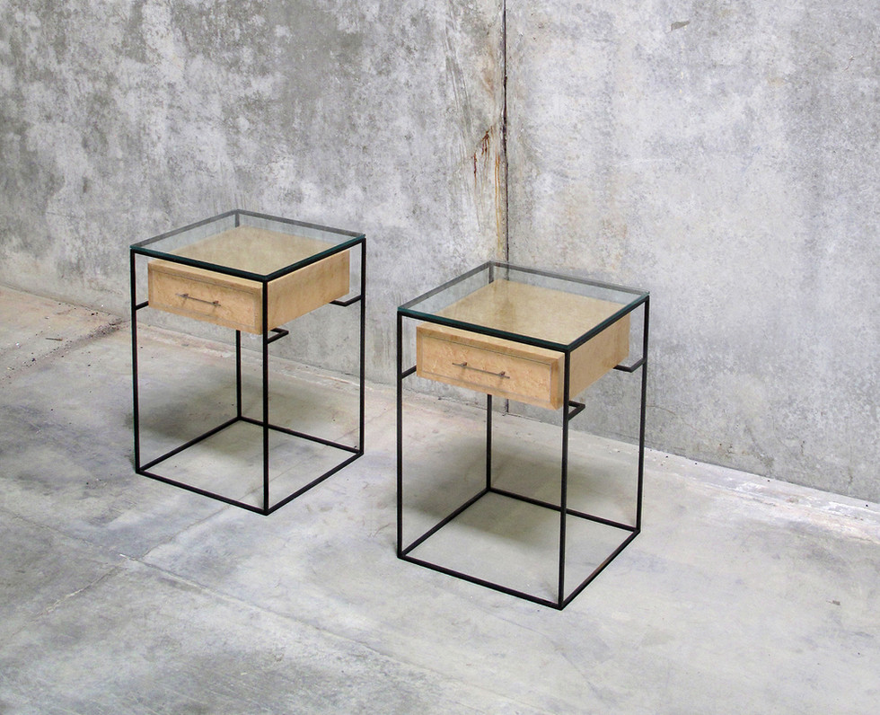 BURLED MAPLE FLOATING DRAWER SIDE TABLE