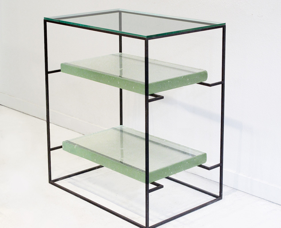 CAST GLASS SIDE TABLE