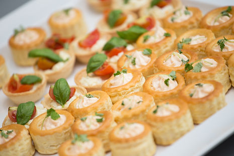 Wedding canapes, buffet food. Privat catering