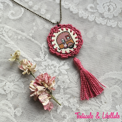 Wooden Crochet Painted Necklace