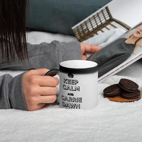 Carrie Dawn Keep Calm Matte Black Magic Mug