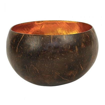 Grand bol noix de coco intérieur doré