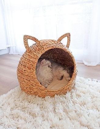 """Panier pour chat en roseaux """"Oreilles"""""""