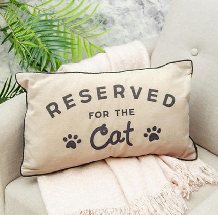 """Coussin """"Reserved for cat"""""""