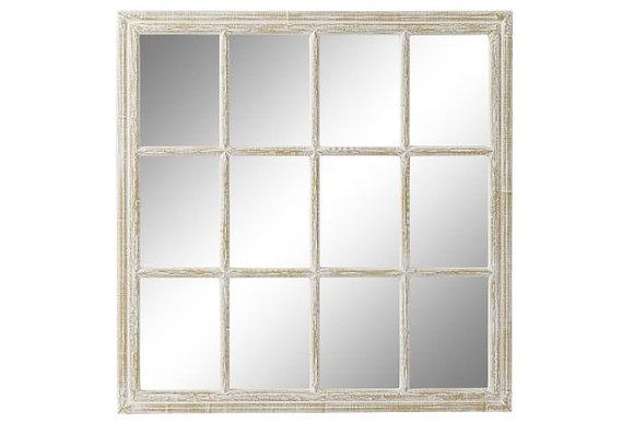 Miroir effet fenêtre en bois blanchi (précommande)