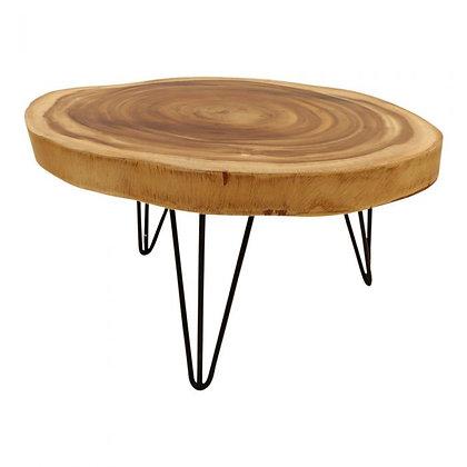 Table basse en bois effet rondin